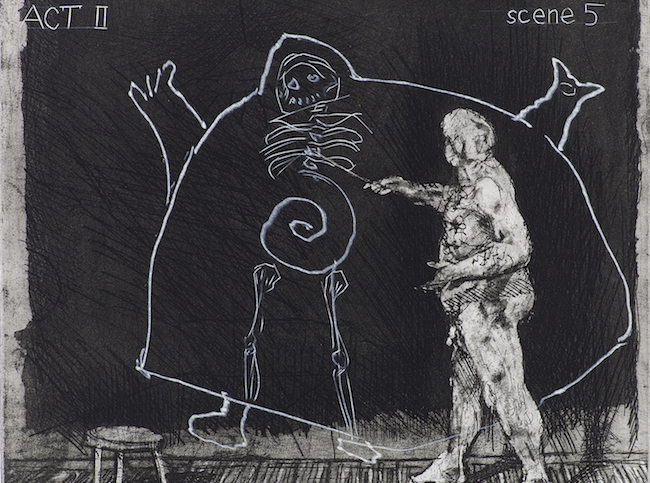 William Kentridge, Ubu tells the Truth, 1997, détail du portfolio de 8 aquatintes. Ici, Thys Dullaart. © William Kentridge / Courtesy de l'artiste