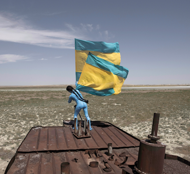 """Sarah Trouche, extrait de la performance Aral Revival. Ce projet """"Aral Revival"""" is an art project implemented in a diptych dedicated to the recognition and protection of the Aral Sea in Kazakhstan. ©Sarah Trouche"""